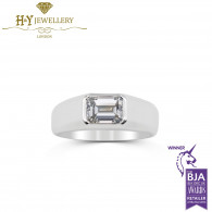 White Gold Emerald Cut Ring for Men - 1.51ct