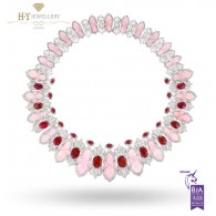 Ananya White Gold Lotus Samsara Bespoke Flush Necklace set with Rubies, Pink Opals and Diamonds