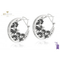 Ananya Lotus Samsara Earrings set with Diamonds