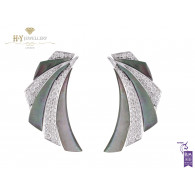 Ananya White Gold Mogra Demi Blossom Ear Cuffs set with Mother of Pearl and Diamonds