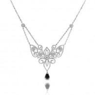 Filigree Blue Sapphire and White Diamond Necklace