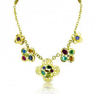 Yellow Gold, Peridot and Citrine Clover Necklace