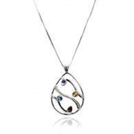 Openwork Teardrop Pendant with Amethyst and Blue Topaz