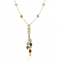 Classic Bvlgari Diamond and Semi Precious Cabochon Bead Necklace