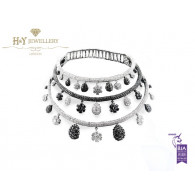 White Gold Black and White Diamond Necklace and Earrings set - 80.71 ct