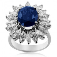 White Gold Sapphire Ring With Marquise Cut Diamonds