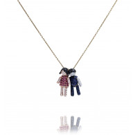 Ruby and Diamond Girl and Boy Pendant Necklace