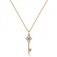 Rose Gold Key Pendant With Brilliant Cut Diamonds