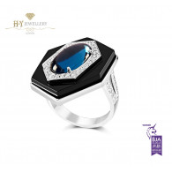 Ananya Celeste Ring set with Topaz , Onyx and Diamonds