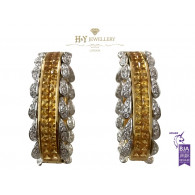 White and Yellow Gold Earrings set with Yellow Sapphires and Diamonds - 26.20 ct