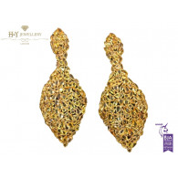 Yellow Gold Earrings Set with Yellow Sapphires - 41.44 ct