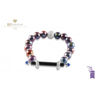 Ananya Chakra Bracelet set with Onyx, Topaz, Pearls and Diamonds