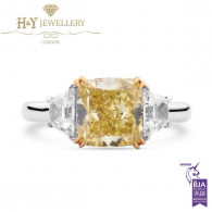 White Gold Cushion Cut Fancy Vivid Yellow Diamond Ring