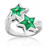 White Gold Star Ring With Emeralds And Diamonds
