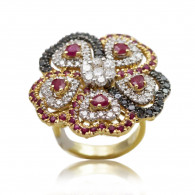 Ruby And Black Diamonds Openwork Flower Cocktail Ring