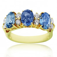 Yellow Gold Trinity Ring With Oval Cut Sapphire And Brilliant Cut Diamonds