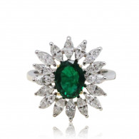 Emerald and Diamond Floral Cocktail Ring