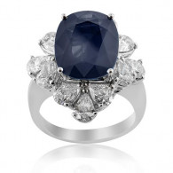 Deep Blue Sapphire and Diamond Ring