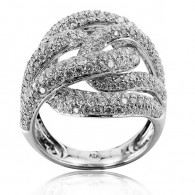 White Gold Spiral Ring With Brilliant Cut Diamonds
