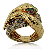 Emerald and Diamond Serpent Cocktail Ring