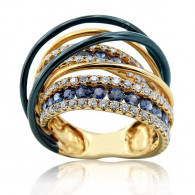 Blue Gold and Sapphire Cocktail Ring