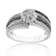 White Gold Joint Ring With Brilliant Cut Diamonds