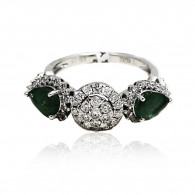 Illusion and Pear Cut Emerald Ring