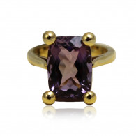 Yellow Gold Ring With Emerald Cut Amethyst