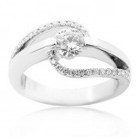 White Gold Sweeping Wave Solitaire Engagement Ring