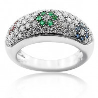 White Gold Ring With Brilliant Cut Rubies, Sapphire Emerald And Diamonds