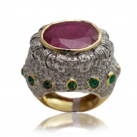 Ruby, Emerald and Diamond Cocktail Ring