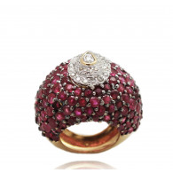 Filigree Ruby and Pear cut Cocktail Ring