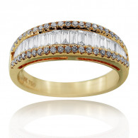Rose Gold Half Eternity Ring With Baguette And Brilliant Cut Diamonds