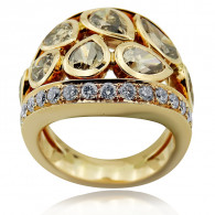 Cognac and White diamond Cocktail Ring