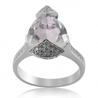White Gold Diamond And Pink Amethyst Ring
