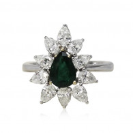 White Gold Ring With Pear Cut Emerald And Pear Cut Diamonds