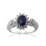 White Gold Engagement Ring With Oval Cut Sapphire And Brilliant Cut Diamonds