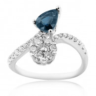 White Gold Ring With Pear Cut Sapphire And Brilliant Cut Diamonds