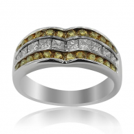 White Gold Diamond Ring With Citrines