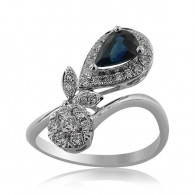 White Gold Ring With Pear Shaped Sapphire And Brilliant Cut Diamonds