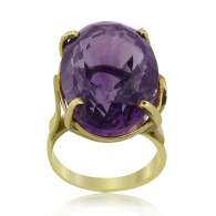 Yellow Gold Large Amethyst Ring