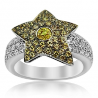White Gold Diamond And Citrine Star Ring