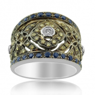 White Gold Tribal Ring With Diamonds And Colored Stones