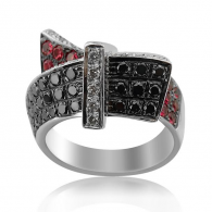 Sweeping Ruby and Black Diamond Ring