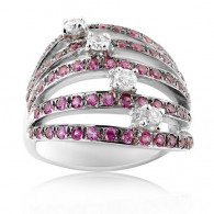 White Gold Ring With Brilliant Cut Diamonds And Brilliant Cut Pink Rubies