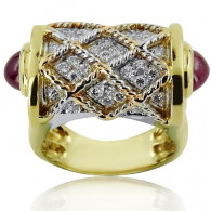 Yellow And White Gold Ring With Brilliant Cut Diamonds And Cabochon Rubies