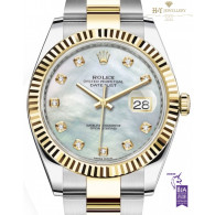 Rolex Date Just 41 Two Tone with mother of pearl dial set with diamonds - ref 126333