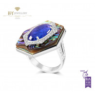 Ananya Celeste Ring set with Abalone, Tanzanite and Diamonds