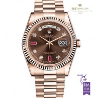 Rolex Day Date 36 Rose gold with Rubies and Diamonds - ref 118235