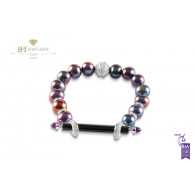 Ananya Chakra Bracelet set with Onyx, Amethyst, Pearls and Diamonds